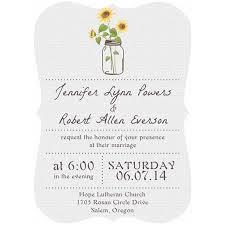 Inexpensive Mason Jars Themed Rustic Sunflower Wedding Invitation Cards Bracket Shaped Version EWIb355 I