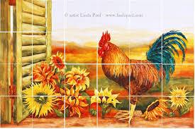 Rooster Kitchen Decor Backsplash With Sunflowers
