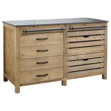 meuble cuisine bas meuble bas de cuisine en pin recyclé l140 maisons du monde