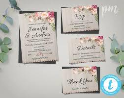 Bohemian Wedding Invitation Template Suite Boho Invite Printable Rustic Chic Invites