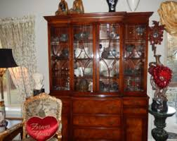 Henredon Walnut China Cabinet by Pick Up Only Vintage Shabby Chic French Provincial Hutch