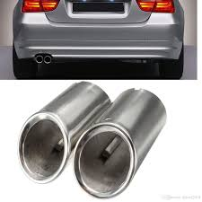 Set Muffler Exhaust Tail Pipe Tip Chrome For BMW E90 E92 325i 328i 3