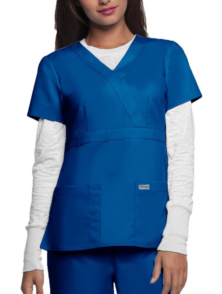 Grey's Anatomy Women's 4153 3 Pocket Mock Wrap Scrub Top, New Royal