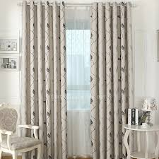 Rustic Style Grey Poly Linen Leaf Pattern Insulated Thermal Curtains