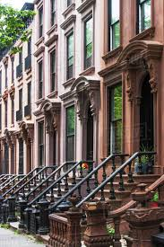 100 Townhouse Facades USA New York State New York City Brooklyn And Entrances Of Townhouses Stock Photo