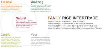 Fancy Rice Intertrade Co Ltd Our Core Value