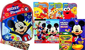Disney Mickey Mouse Mini Backpack With Reading Books And Arts Crafts 2 Sticker Jumbo Coloring Book Crayons