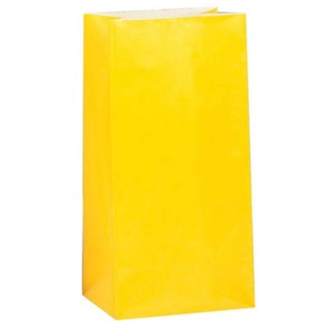 Unique Paper Party Favor Bag - Sun Yellow, 12pk