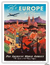 Fly To Europe Poster For Pan American World Airways