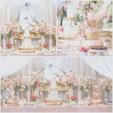 Outdoor Wedding Cake Table Ideas Unique Blush Pink Gold Flowers