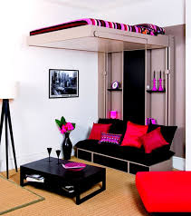 Bedroom Teen Boy Ideas With Black Sofa And Red Cushions Plus Floor Lamp Also