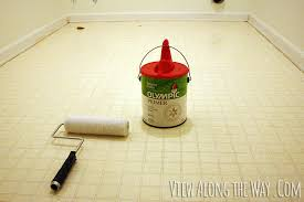 Tiling A Bathroom Floor Over Linoleum by How To Paint Vinyl Or Linoleum Sheet Flooring