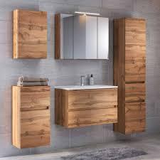 set badezimmermöbel in holz optik iliam 5 teilig