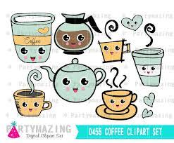 Coffee Clipart Printable Kawaii Set Planner New