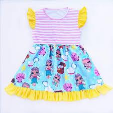 Baby Girls Summer Unicorn Dress Yellow Dot Striped Milk Silk Children Purple Pearl Boutique LOL Surprise Dolls