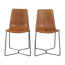 46% OFF - West Elm West Elm Leather Slope Dining Chairs / Chairs