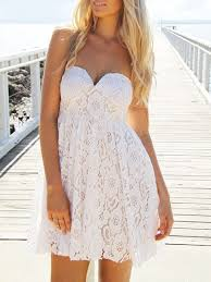 white strapless sweetheart crochet lace dress top5 best selling