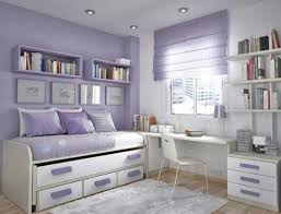 Adorable Teen Bedroom Design Idea For Girl With Soft Purple White Wall Paint Color And