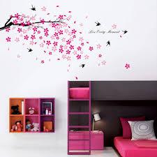 autocollant chambre fille sticker mural autocollant chambre enfant salon oisseau arbre en