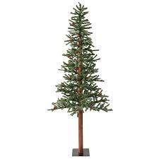 Vickerman 6 Ft Pre Lit Alpine Slim Flocked Artificial Christmas Tree With Warm White