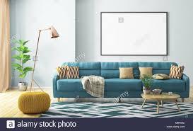 modernes interieur aus wohnzimmer mit türkis gelb gestrickt
