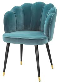 casa padrino luxury velvet dining chair with armrests sea green black gold 60 x 63 x h 83 cm kitchen chair in clamshell design