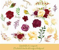 Burgundy And Gold Watercolor Clipartburgundy Flower Clipartmarsala Rose Clipartwedding Invitationgold Peony Clipartyellow