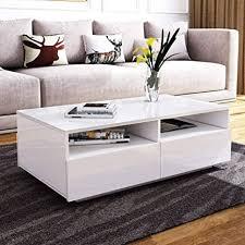 ejoyous couchtisch alle hochglanz modern sofa tisch42 schubladen mit regalen rechteck tisch für wohnzimmer zuhause büromöbel dekoration mit 16 farben