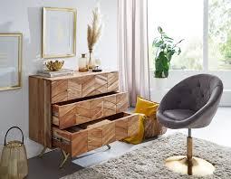 wohnling sideboard 90x86 5x40 cm akazie massivholz metall anrichte kommode 3 schubladen hoher kommodenschrank holz massiv standschrank
