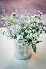 Simple Rustic Wild Flowers In Tin Can Centerpiece