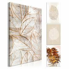 details zu pflanzen leinwand deko bilder design wandbild kunst wohnzimmer gold weiß