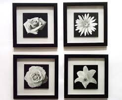 Modern Design Black And White Framed Wall Art Floral Novelty Inspirational