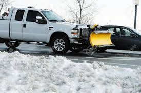 100 Truck With Snow Plow Plow Installed In Parking Lot Removed Stock