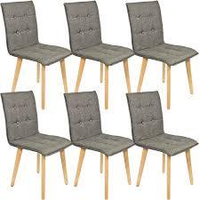 kingpower stühle im 6 er set modern esszimmerstühle küchenstühle wohnzimmerstuhl dunkelgrau polsterstuhl mit rückenlehne knöpfe echt holz beinen