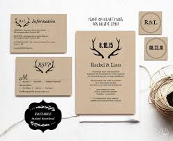 Printable Wedding Invitations DIY Invitation Template Rustic Suite Kraft Antler