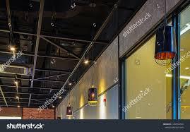 100 Exposed Ceiling Design Black Frame Air Conditioner Stock Photo