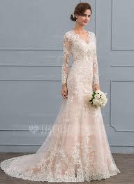 Trumpet Mermaid V neck Court Train Tulle Lace Wedding Dress