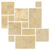 Versailles Tile Pattern Travertine by Bucak Medley Walnut Bushed Chiseled Small Versailles Pattern