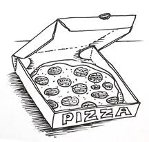 Learn how to draw a pizza in a box