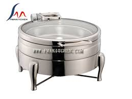Round Glass Lid Chafing Dish Hydraulic Induction Chafer 4L 6L 11L 304 Stainless Steel