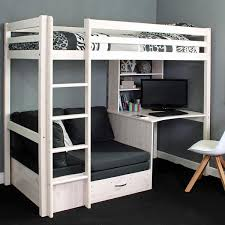 Loft bed with futon and desk