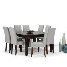 Simpli Home Acadian 9-Piece Dining Set With 8 Upholstered ... Ding Room Elegant Kfine Classic Upholstered Parsons Fniture Parson Chair For Your Interior Ideas Contemporary Gray Velvet Nailhead Set Kelsi In Blue Simple And Chairs Floral Fabric Wyndenhall Normandy 7 Pc With 6 And 66 Inch Wide Table Skirted Fresh Sarkis Muses 7piece Rectangular Back By Progressive At Wayside West Design Rustic Chairs Jax 5 Piece Rooms