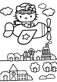Hello Kitty Is The Pilot Coloring Pages