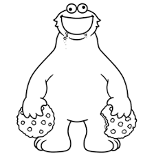 Black and white drawing of Cookie Monster