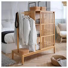 nordkisa kleiderschrank offen schiebetür bambus 120x123 cm