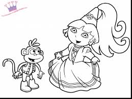 Terrific Dora Princess Coloring Page With Pages Printable And Barbie