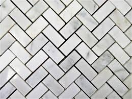 Picture Of Herring Bone White Carrara Marble Mosaic