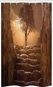 abakuhaus duschvorhang badezimmer deko set aus stoff mit haken breite 120 cm höhe 180 cm baum brown himmel sonnenuntergang bewölkt kaufen