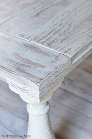 Distressed coffee table painted with MMS milk paint in Grain Sack