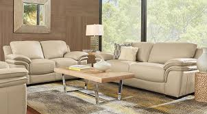 Cindy Crawford Home Grand Palazzo Beige Leather 3 Pc Living Room